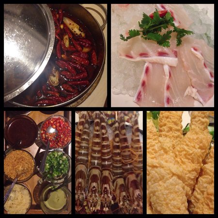 Budaoweng Hot Pot Cuisine: Sichuan broth, fish, condiments for dipping sauce, striped prawns and tofu skin.
