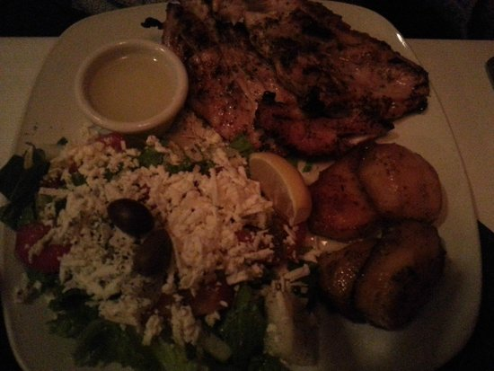 Paros On Main : Grilled chicken with greek salad (dressing on side requested)
