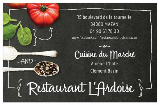 Restaurant LArdoise Carte De Visite