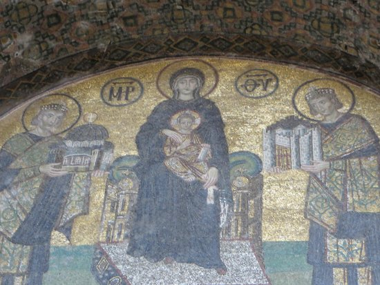 Hagia Sophia Museum / Church (Ayasofya) Virgin and Child flanked by Justinian I & Virgin and Child flanked by Justinian I and Constantine I (front ...