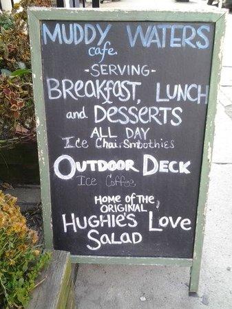 Muddy Waters Cafe: A brief menu upon entering Muddy Waters.