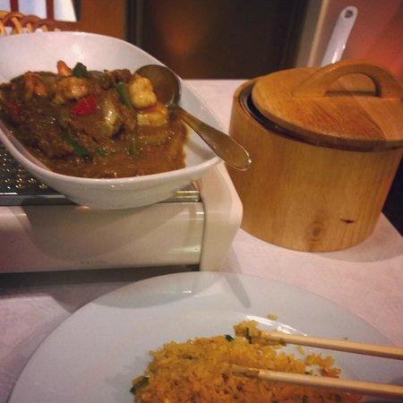 The Honey Tree: Prawn satay and egg-fried rice. Tea lights beneath the dish kept the satay nice and hot througho