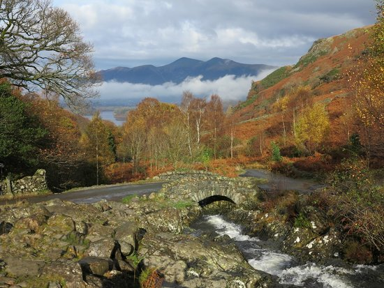 Keswick, UK: Ashness Bridge with Skiddaw above the mist and Derwentwater