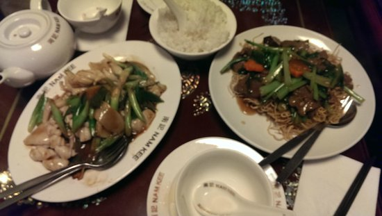 Nam Kee Nieuwmarkt: Squid with ginger and spring onions/Fried noodles with beef