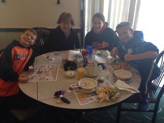 Hamilton Family Restaurant: Eating at Hamiltons Diner before we go to Brandon's national band combination