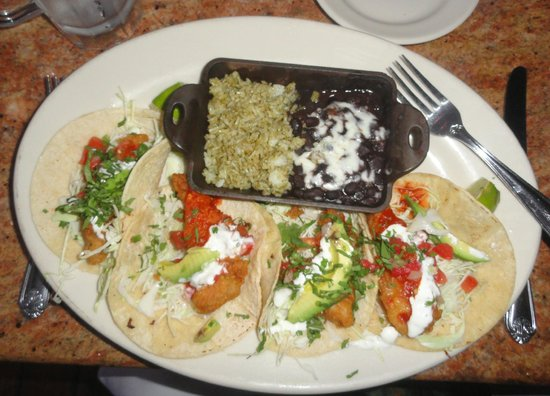 Fish taco platter w/black beans & rice - Picture of The Cheesecake ...