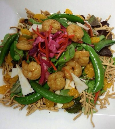 Shrimp oriental salad, seared with market fresh vegetables topped with ...