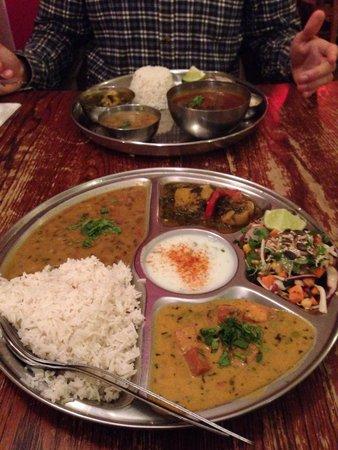 Thali Cafe Montpelier: Lamb Kofta Thali (back) and Paneer Thali (front)