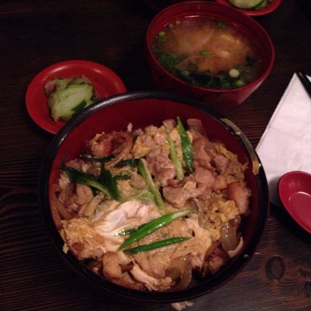 Gomen Kudasai : Oyako-Don (chicken, onion, shiitake, and egg with brown rice), pickled cucumbers, and miso soup