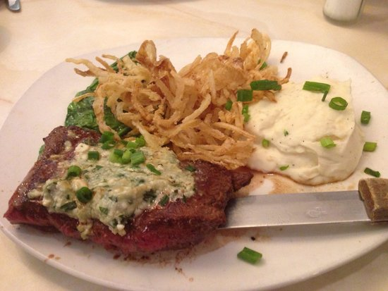 Silver Diner : Flat Iron Steak topped with goat blue cheese, mashed potatoes, garlic spinach, and crispy fried