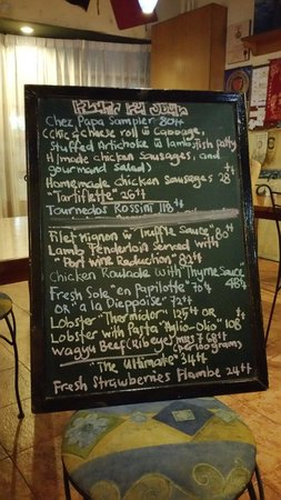 Chez Papa French Bistro and Wine Bar : The special menu of the day