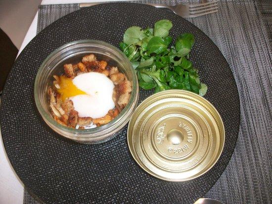 Islo: Superbe et savoureuse cassolette de champignons et œuf poché, un délice!