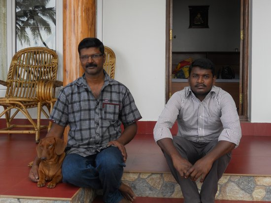Ocean Hues Beach House: The Trio who entertained us, brownie, sunder and chandru