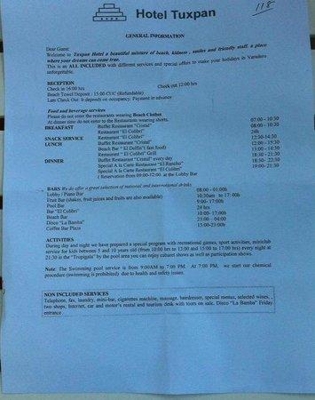 Hotel Tuxpan Varadero: welcome flyer
