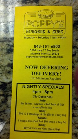 Poppy's Burgers and Subs: menu