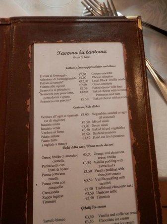 The Taverna La Lanterna Menu