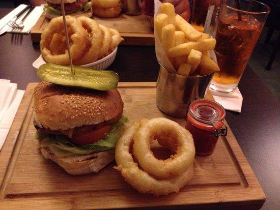 The Waterfront: Pork & chorizo burger. Onion rings yum!