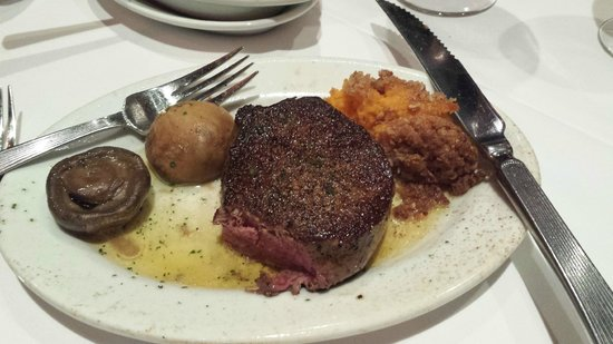 Ruth's Chris Steak House: The petit filet with mushrooms and sweet potato casserole