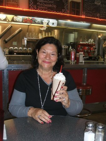 Woolworth Walk: Me with my chocolate shake.  Delicious!