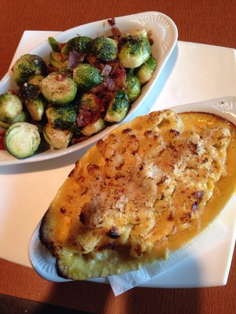 Frank & Nic's West End Grille: Crab Mac N Cheese, and Roasted Brussels Sprouts and Bacon. SO GOOD!