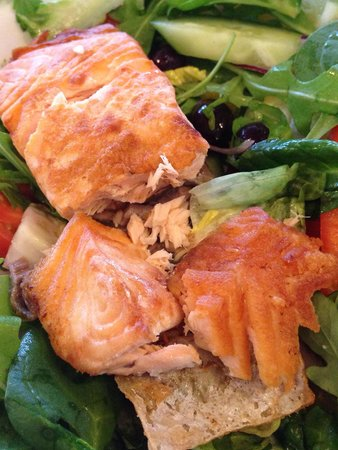 Salmon hard all round ( over cooked ) and none dry !  Texture of chicken rather than a delicate