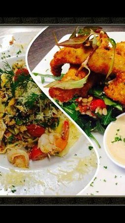 Wharfside Cafe : Macadamia crusted fish and prawn and crab pasta