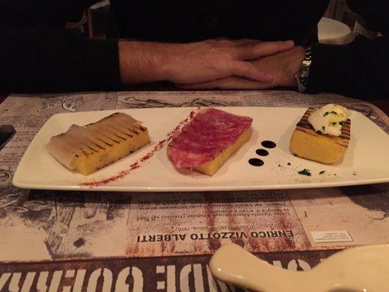Sosteria: Antipasto: assaggi di affettati (tra cui patanegra) e formaggio