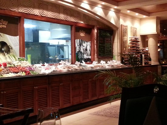 Food at display restaurant Waves