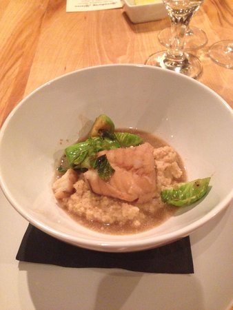LA FERME : Monkfish poached in mushroom stock Cauliflower purée  Sautéed brussel sprouts