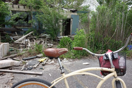 Ninth Ward Rebirth Bike Tours : Bike in front of demolished house in Lower 9th Ward