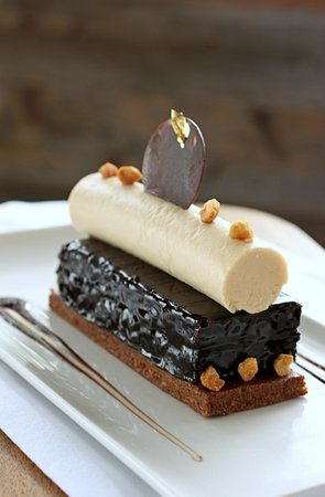 Chocolate, Almond, Caramel Cake with Chocolate Almond Cake, Caramel Mousse and Feuilletine