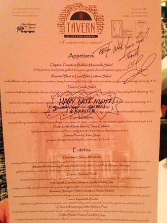Second Empire Restaurant : The menu signed