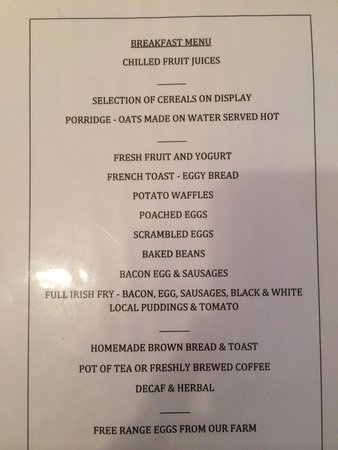 Kenny's Guesthouse: Menu