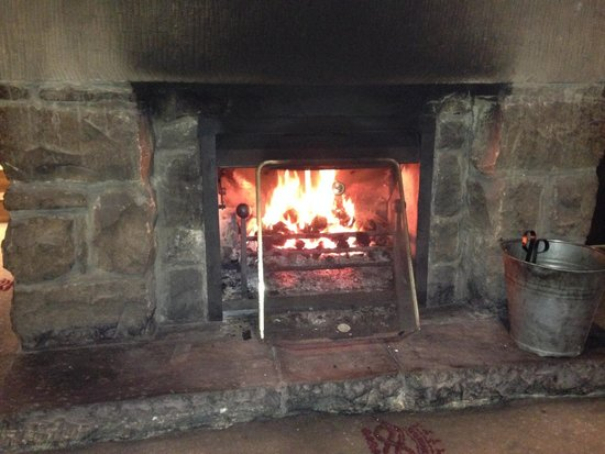 The Devonshire Arms at Beeley: A cosy roaring fire to have dinner in front of on a cold wet evening