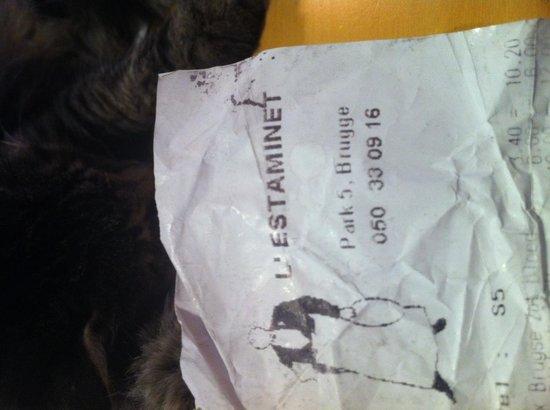 L'Estaminet : The receipt