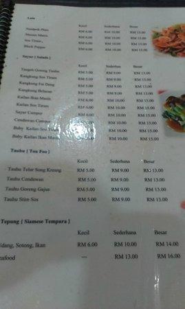 menu - picture of sara thai kitchen, kuantan - tripadvisor