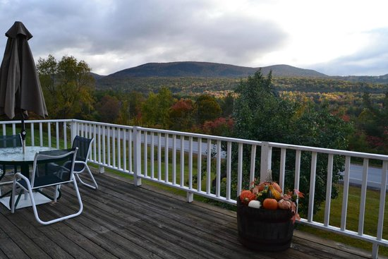 The INN at Willow Pond: Overcast view from the deck on a rainy day still looked great.