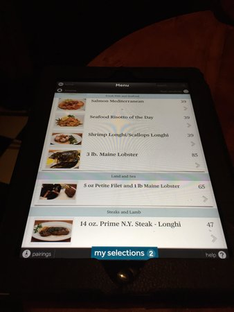 Longhi's Wailea: Tablets to review menu