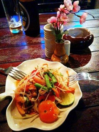 Again and Again: papaya salad, ask no more than 2 local chillis