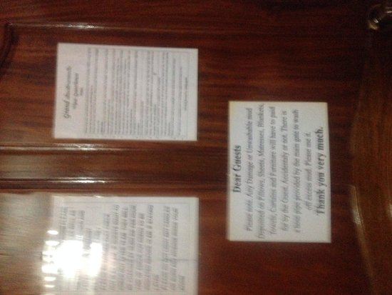 Grand View Guest House : Lots of rules