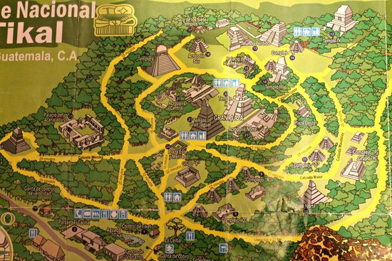 map of site picture of tikal national park peten department