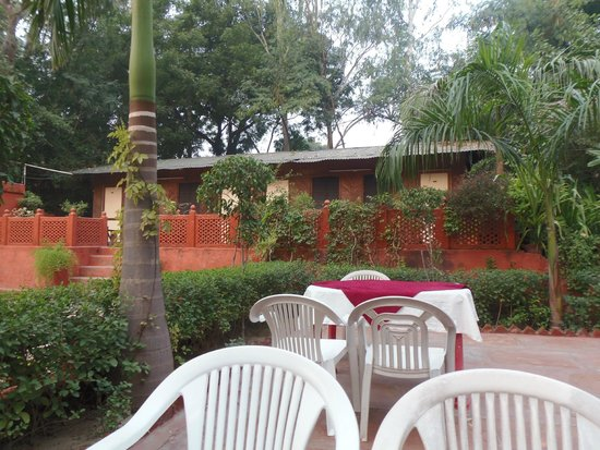 Hotel Sheela: terrasse du resto et notre chambre au fond