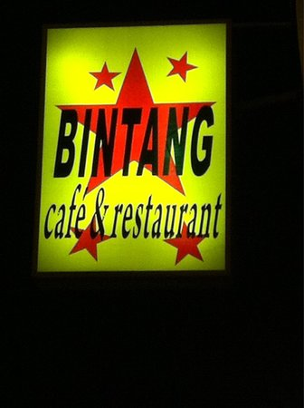 Bintang Cafe and Restaurant: The cafe's sign board