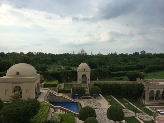 The Oberoi Amarvilas: vista area externa que da para o Taj Mahal
