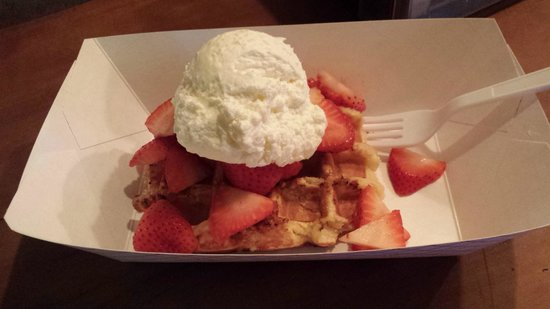 Bruges Waffles & Frites: Vanilla Waffle with Strawberries and Creme Frace