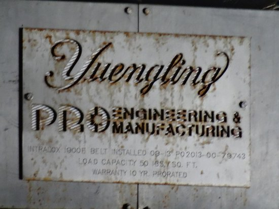 D.G. Yuengling and Son Brewery: machinery label