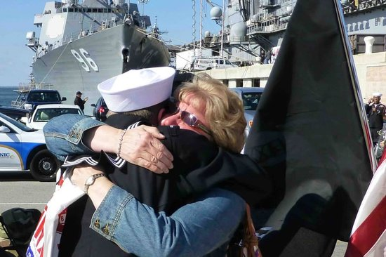 Naval Station Norfolk: My wife and son after a 9 month deployment