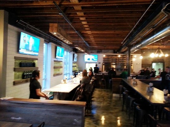 The interior is a combination of sports bar and craft microbrewery ...