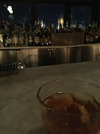 Enjoying an Old-Fashioned while gazing at Manhattan (Empire State Bldg in the center)