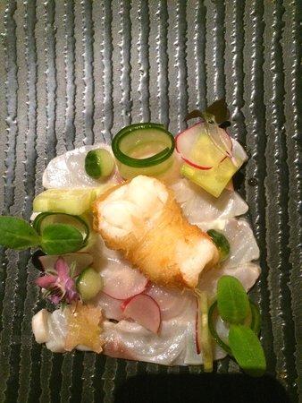 Villa la Ruche : Ceviche van zeebaars met langoustine